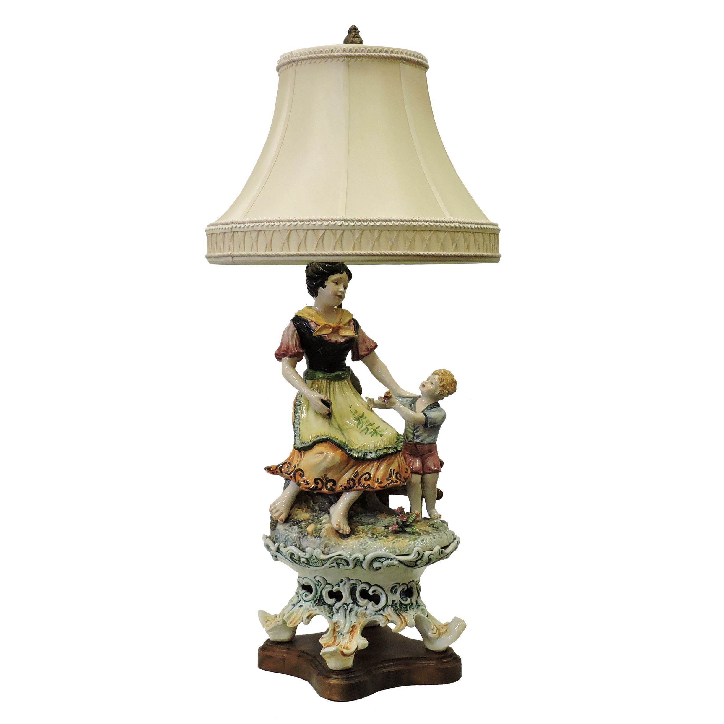 French Woman With Boy Lamp - Beth Claybourn Interiors