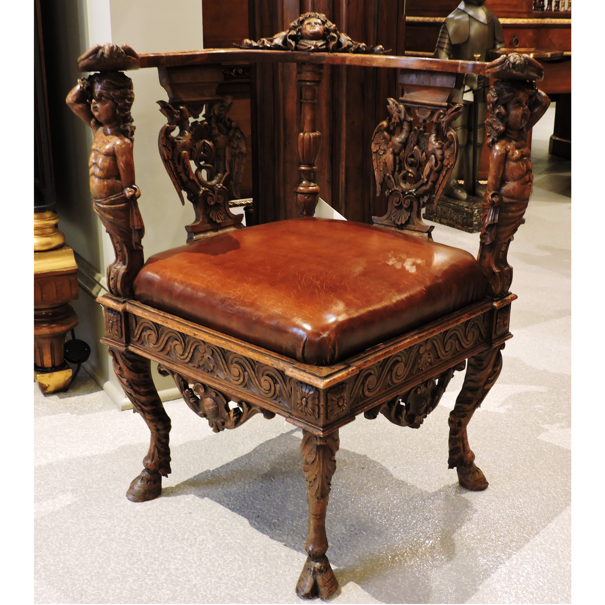 Carved Corner Chair Beth Claybourn Interiors